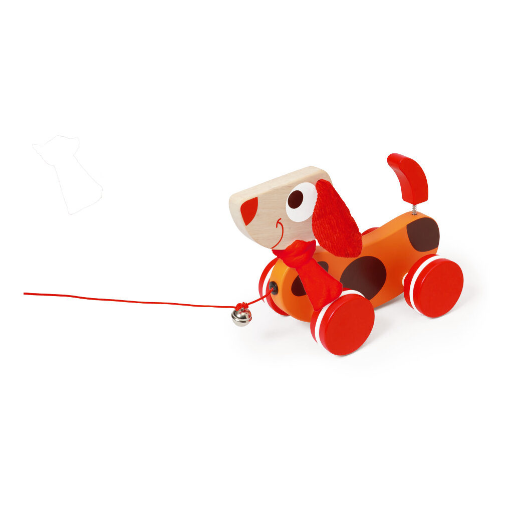 Trekfiguur Grote Hond Rood Oscar Tekkel Belletje Scratch Speelgoed scra-618101