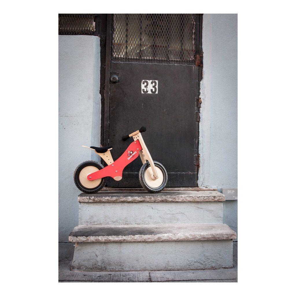 Kinderfeets Krijt Rood houten Loopfiets 2 Wielen Mogelijkheden kind-Kf2.32