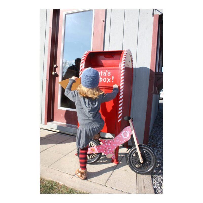 Kinderfeets Retro Cupcake Houten Loopfiets 2 Wielen Donker Roze Wit Meisjes Hoogte Mogelijkheden Opstap Kind-Kf17.11