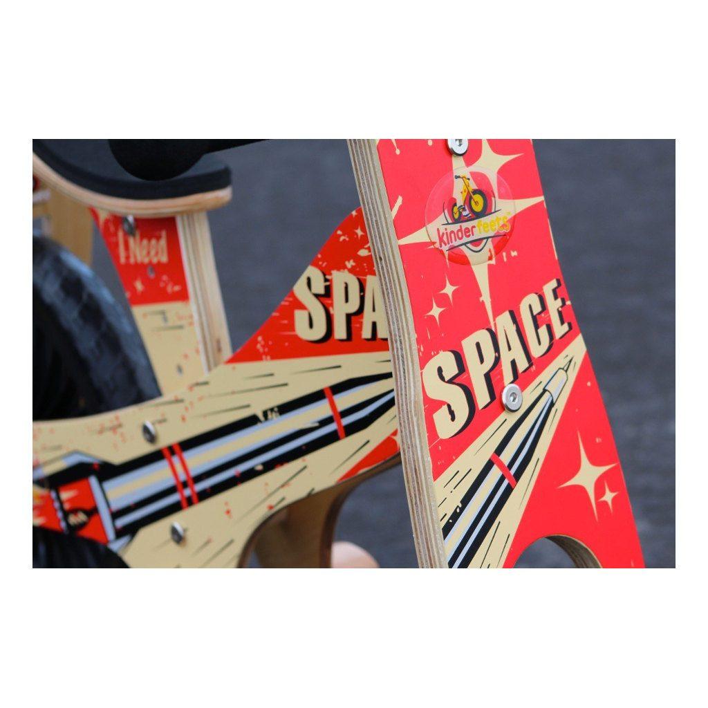Kinderfeets Retro Rocket Houten Loopfiets 2 Wielen Space Rood Zwart Stuurafbeelding Kind-Kf14.11