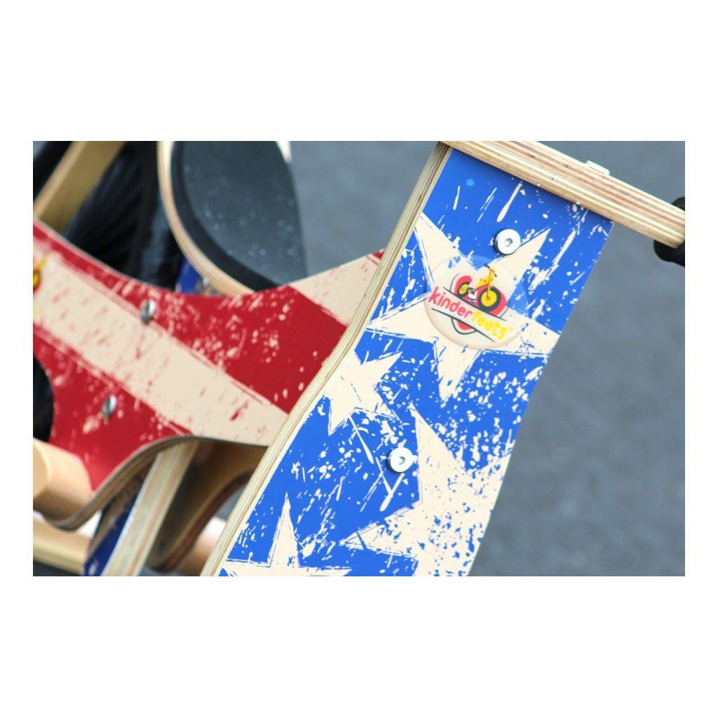 Kinderfeets Retro Stars Stripes Houten Loopfiets 2 Wielen Blauw Rood America Stuurafbeelding Kind-Kf16.11