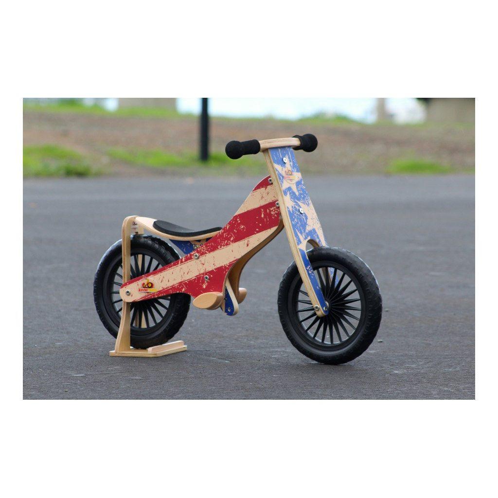 Kinderfeets Retro Stars Stripes Houten Loopfiets 2 Wielen Blauw Rood Amerika Standaard Kind-Kf16.11