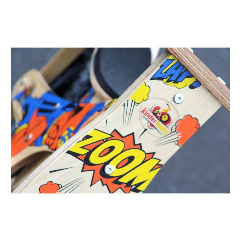 Kinderfeets Retro Superhero Houten Loopfiets 2 Wielen Op Standaard Superman Superheld Oranje Stuurafbeelding Kind-Kf15.11