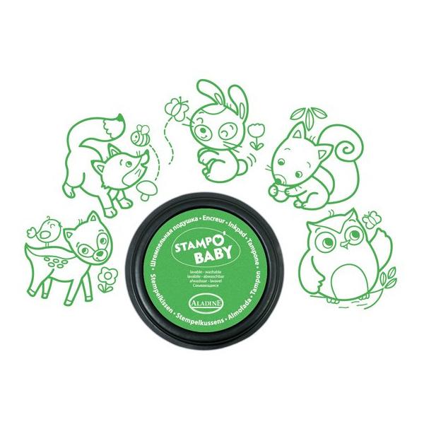 Dieren Uit Het Bos Stempels Aladine Baby Eerste Stempel Groen Uitwasbaar alad-03815