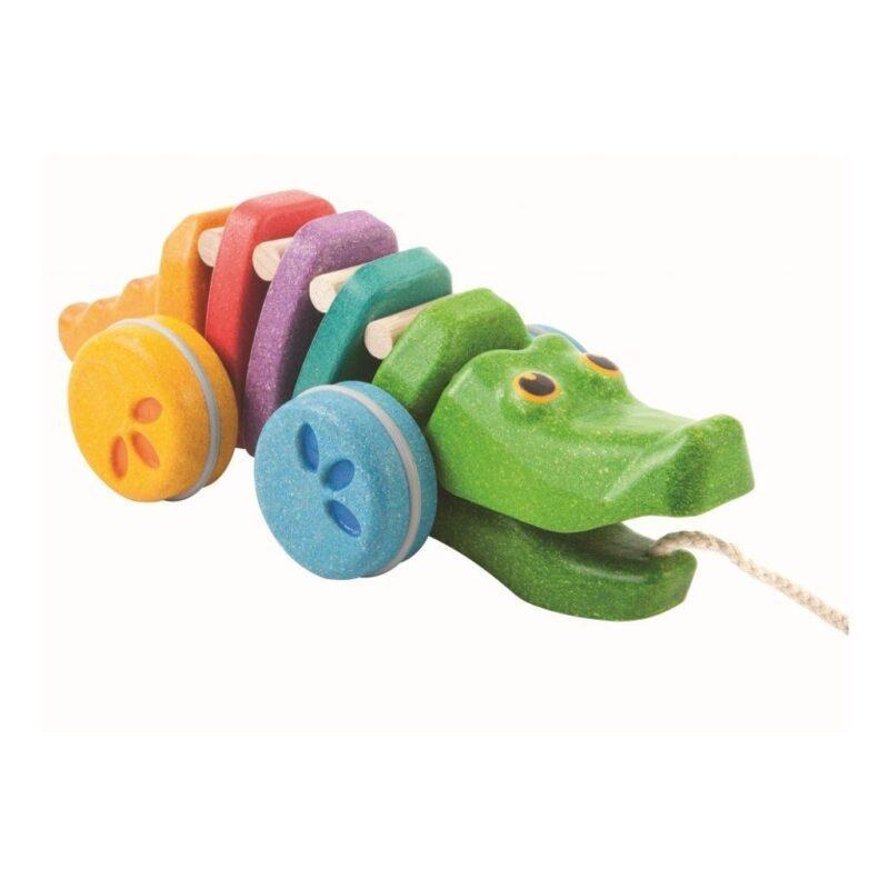 Regenboog Krokodil Trekfiguur Plan Toys Plan Toys Plan-4001416