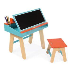 bureauset-oranje-blauw-janod-tekentafel-knutsel-tafel-krijtbord-jano-11-9616