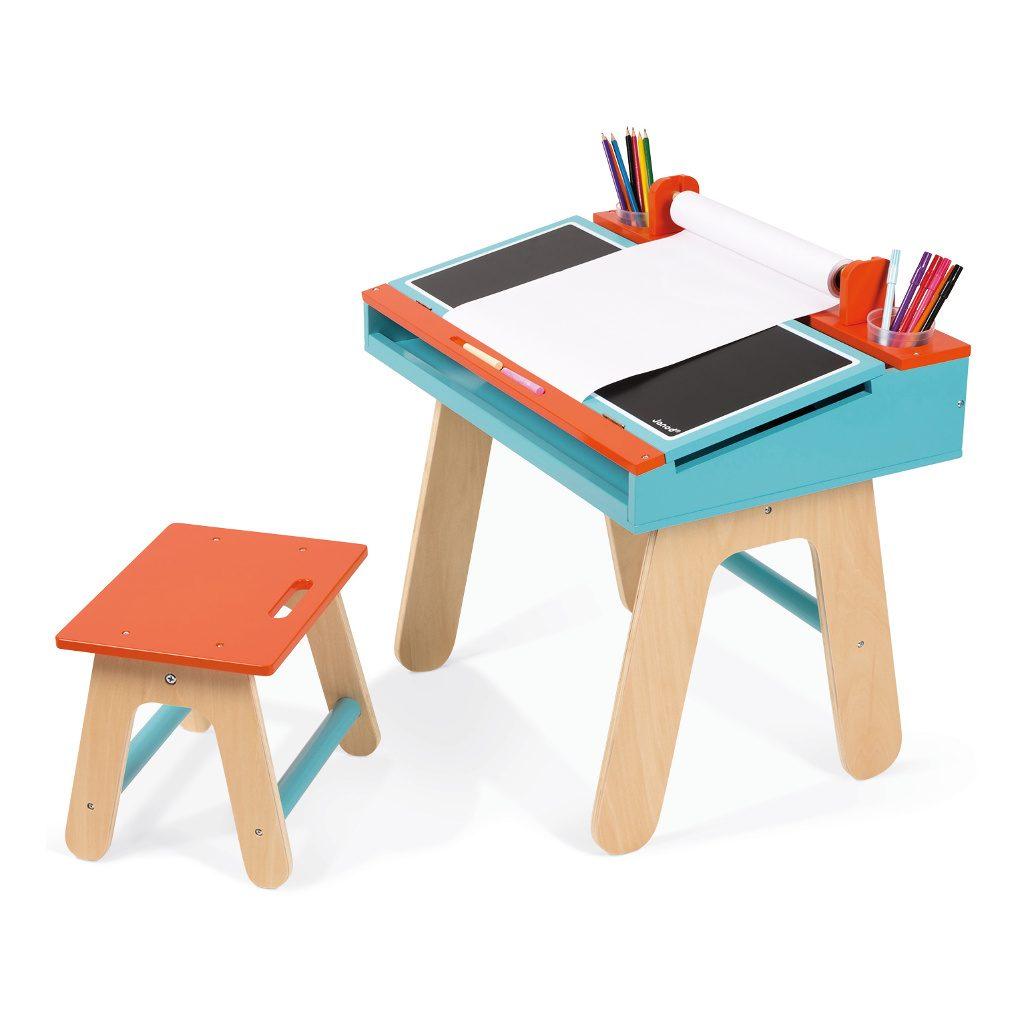 bureauset-oranje-blauw-janod-tekentafel-knutsel-tafel-stoel-rol-papier-jano-11-9616