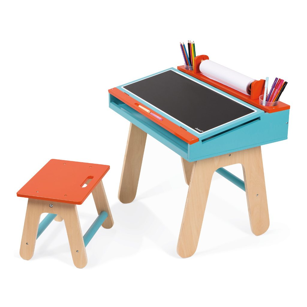 bureauset-oranje-blauw-janod-tekentafel-knutsel-tafel-stoel-rol-papier-opberg-ruimte-jano-11-9616