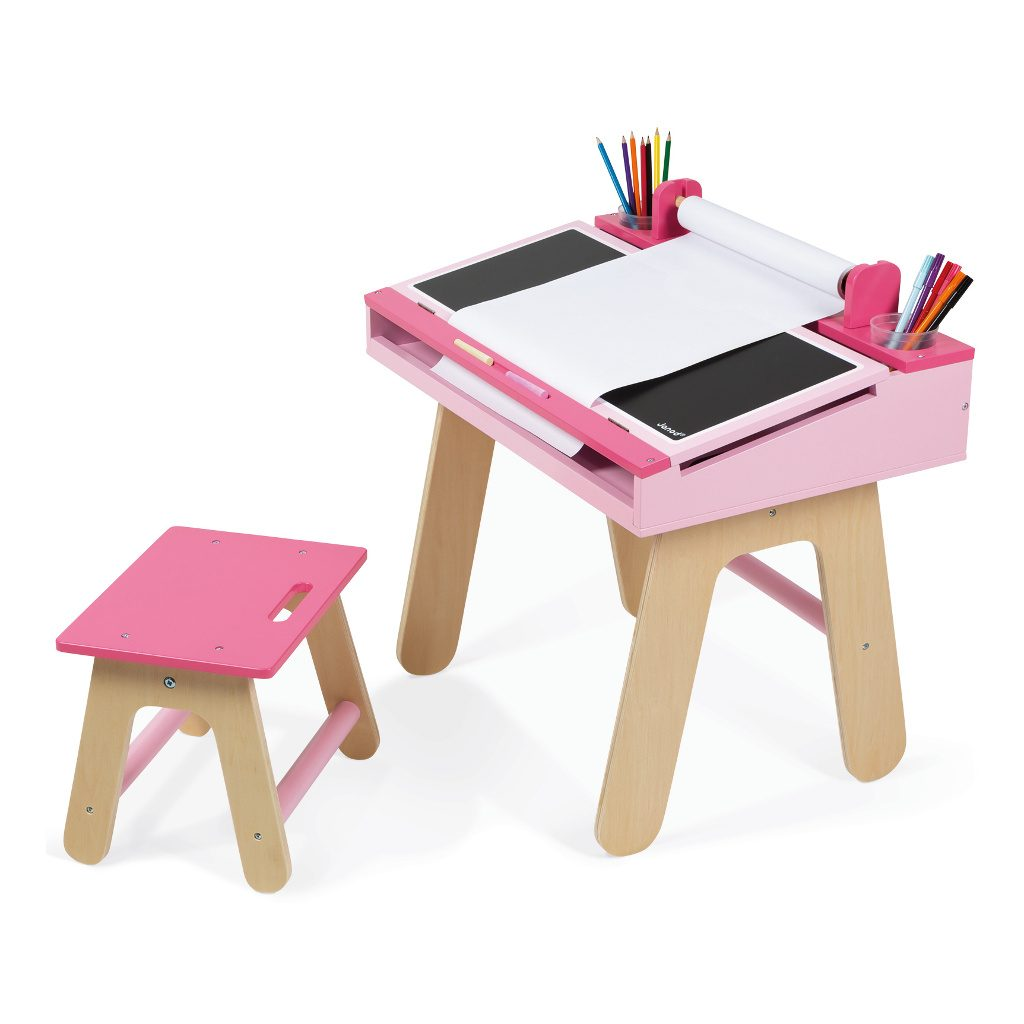 bureauset-roze-janod-tekentafel-knutsel-tafel-stoel-rol-papier-jano-11-9618