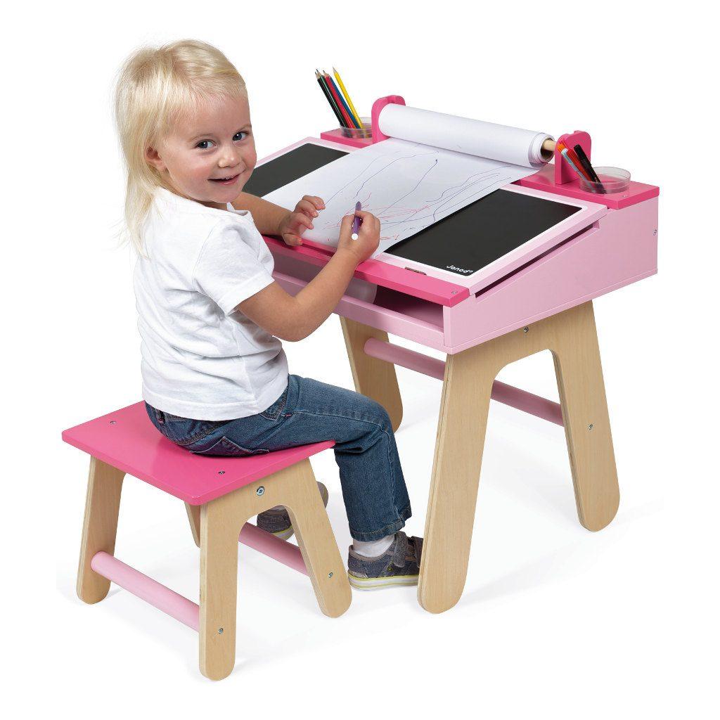 bureauset-roze-janod-tekentafel-knutsel-tafel-stoel-rol-papier-opberg-ruimte-benodigdheden-hoogte-zittend-jano-11-9618