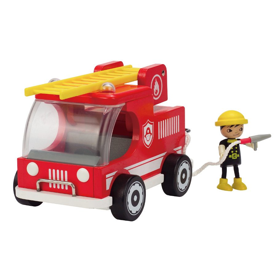 Wooden Toy Trucks For 3 Year Old : Hape brandweerauto kopen ⋆ qiddie