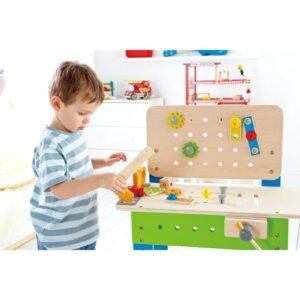 kinder werkbank met gereedschap kopen qiddie. Black Bedroom Furniture Sets. Home Design Ideas