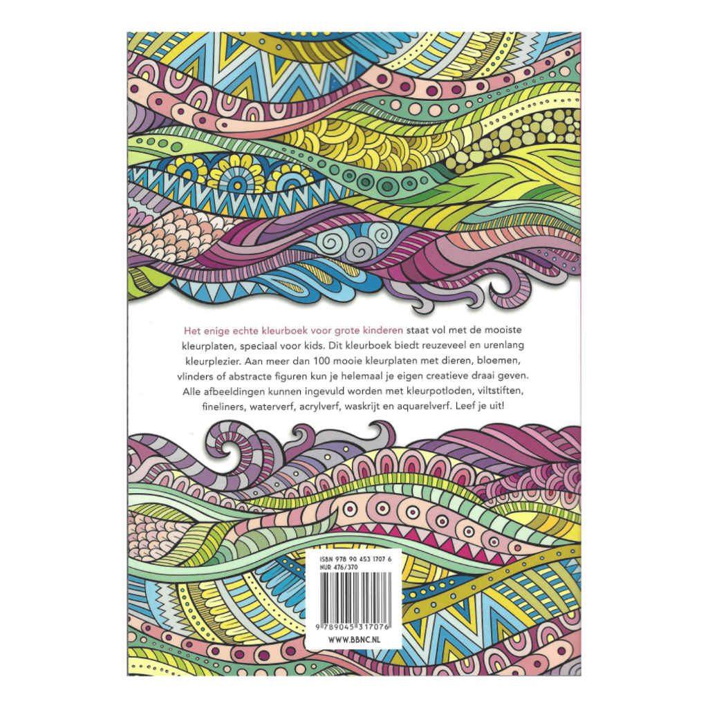 Het Enige Echte Kleurboek Voor Grote Kinderen 100 Paginas Achterkant Bbnc-25017076