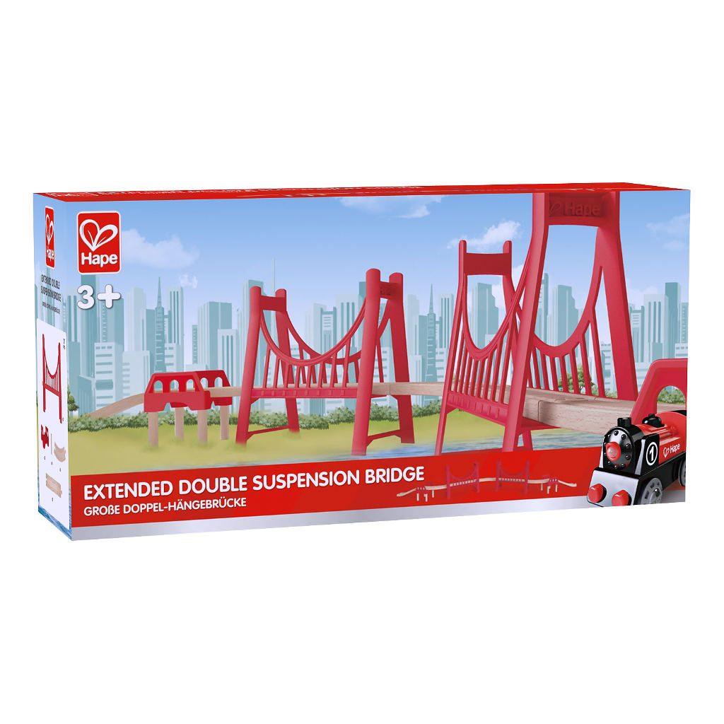 Lange Dubbele Hangbrug Hape Doos Verpakking Trein Rails Brug Hape-e3710