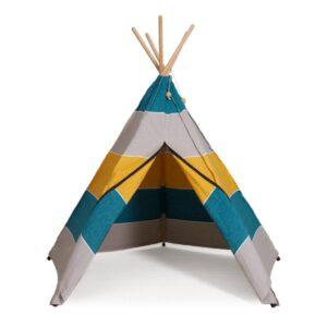 polar hippie tipi roommate tipi tent blauw geel grijs 2 zijde buitenkant stof room-12920
