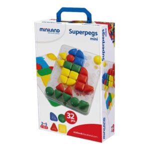 Mozaiek Superpegs Miniland Verschillende Vormen En Kleuren Doos Verpakking Miniland Mini-8295083