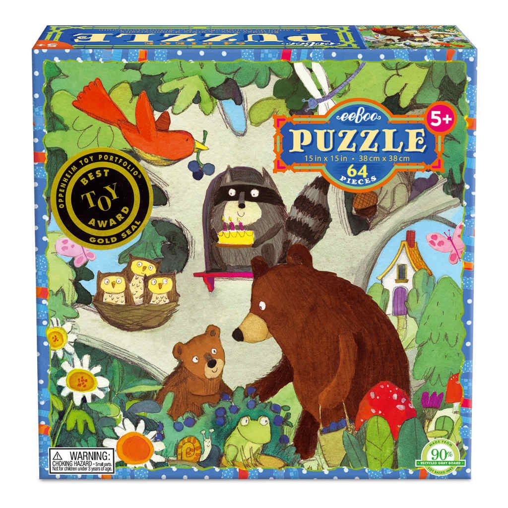 Puzzel 64-Delig Birthday Tree Eeboo Stevige Stukjes Puzzel Bos Dieren Eebo-9650439