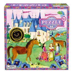 Puzzel 64-Delig Castle Eeboo Stevige Stukjes Puzzel Paard Kasteel Eebo-9650441