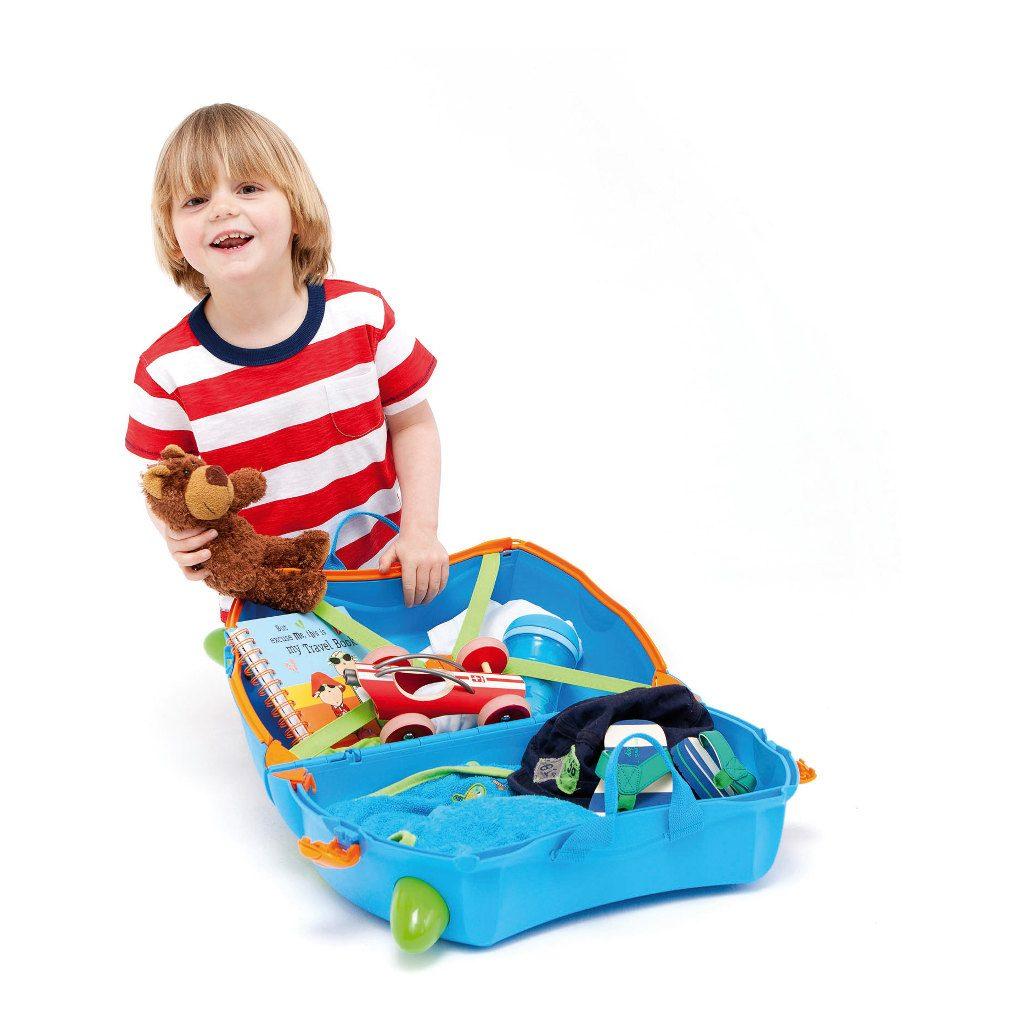 Trunki Blauw Trolley Handbagage Speel Logeer Vakantie Koffer Wielen Trekkoort 3 Trunki Trun-9220005