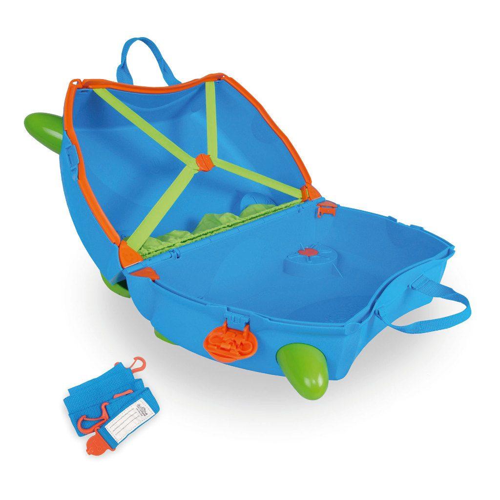 Trunki Blauw Trolley Handbagage Speel Logeer Vakantie Koffer Wielen Trekkoort 4 Trunki Trun-9220005