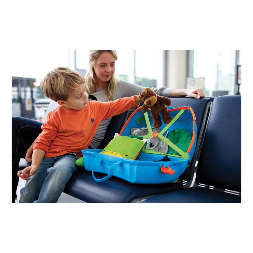 Trunki Blauw Trolley Handbagage Speel Logeer Vakantie Koffer Wielen Trekkoort 9 Trunki Trun-9220005
