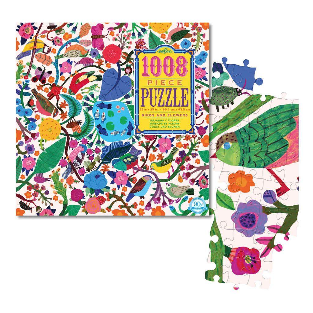Vloerpuzzel 1008-Delig Vogels En Bloemen Eeboo Stevige Stukjes Puzzel Afbeelding Puzzel Stukje Eebo-9650601