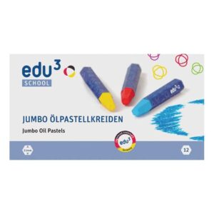 Jumbo Oliepastelkrijt (12 Kleuren Ass) Edu3-2403111012