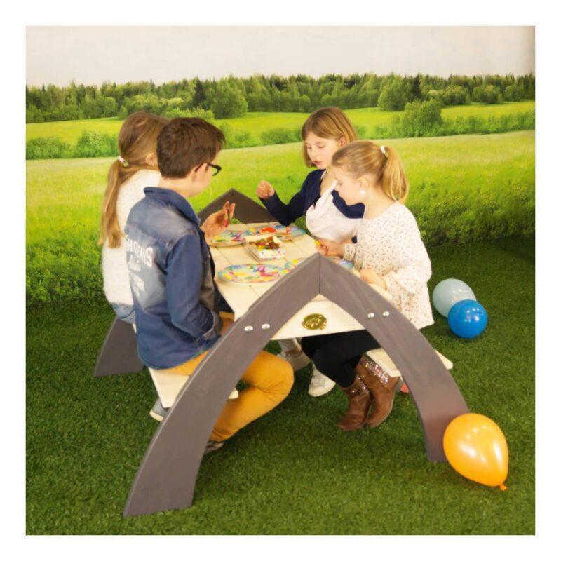 Kylo Picknicktafel Axi Parasol Picknick Grijs Wit Stevig Mooi Degelijk Banken Breed Jongen Meisje Peuter Kleuter 18 Mnd 2 Axis-A031.021.00