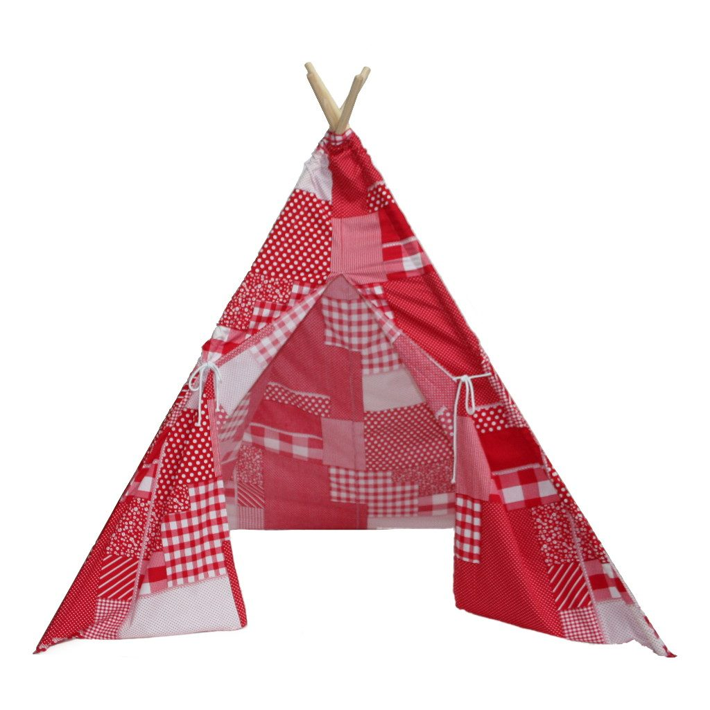 Patchwork Red Teepee tipi