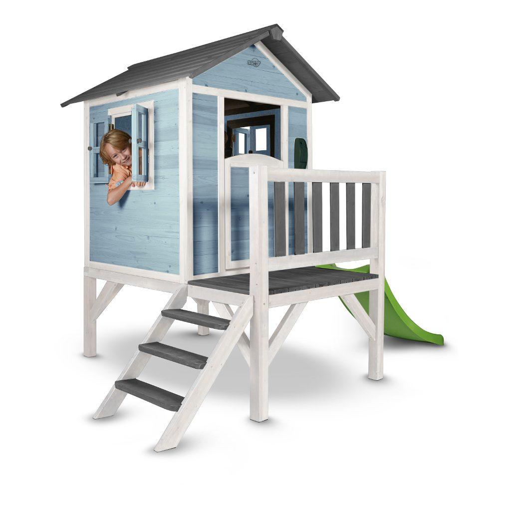 Sunny Lodge Xl Caribean Blauw Wit Peuter Kleuter 18 Mnd 2 J 3 J 4 J 5 J 6 J 7 J 8 J Tuin Speel Huis Huisje Glijbaan Laag Stevig Meisje Jongen 1 Sunn-C050.002.01