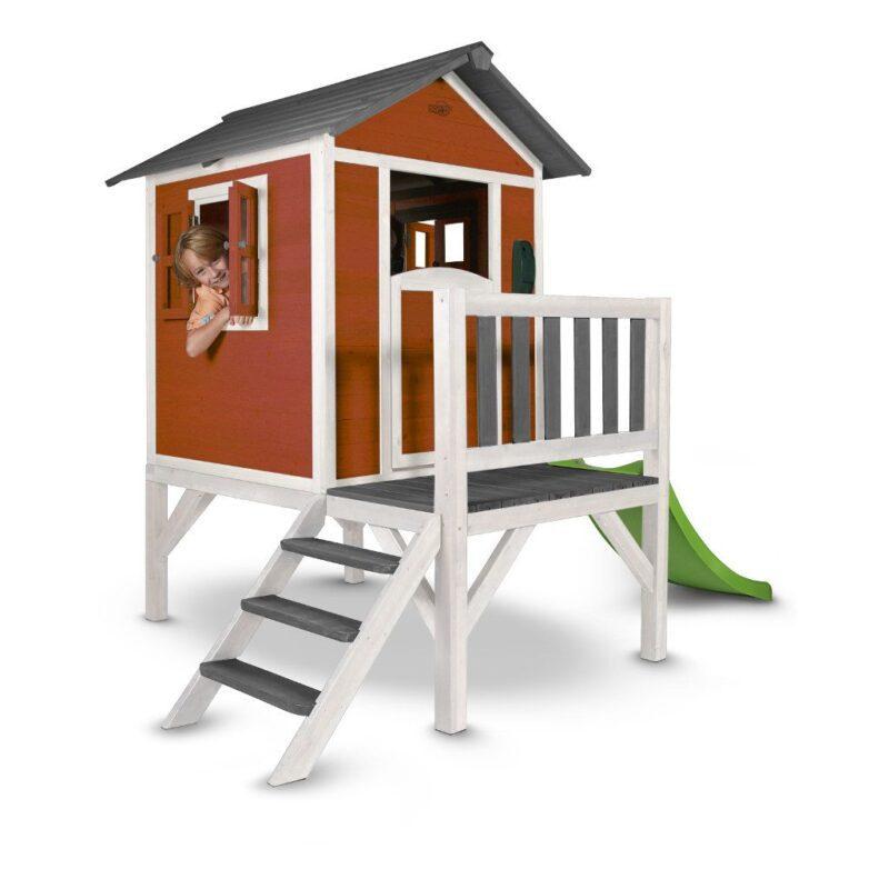 Sunny Lodge Xl Scandinavian Rood Wit Peuter Kleuter 18 Mnd 2 J 3 J 4 J 5 J 6 J 7 J 8 J Tuin Speel Huis Stevig Glijbaan Laag Meisje Jongen 1 Sunn-C050.002.05