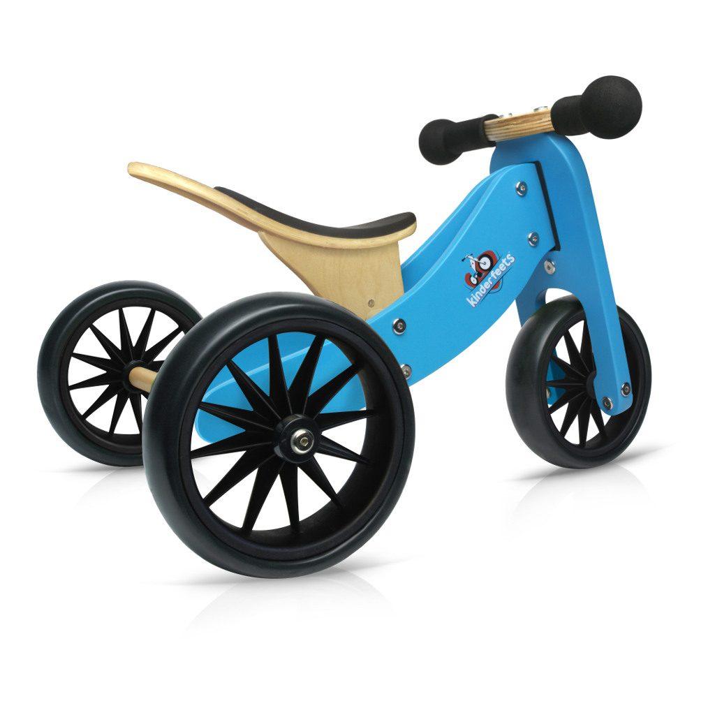 Tiny Tot Blauw 2-in-1 Kinderfeets 3 Wieler Loopfiets kind-kf86645