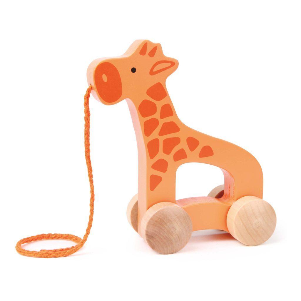 Trekfiguur Giraffe Hape Trek Dier Giraf Touw Wielen Hape-E0906