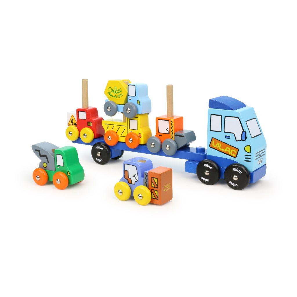 Werkvoertuig Op Vrachtwagen Stapelen