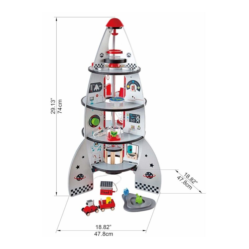 Afmetingen Hape Raket Ruimteschip Vier Etages Hape hape-e3021 1024x1024