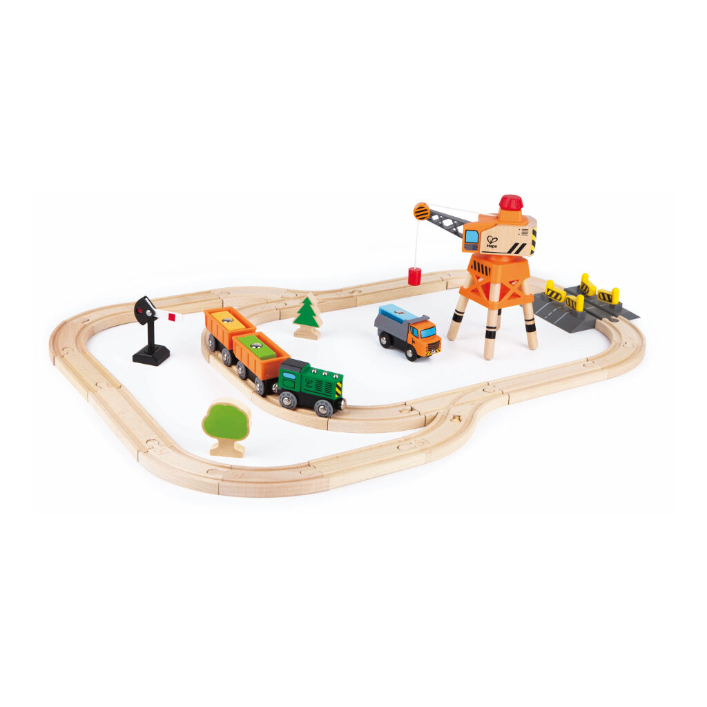 Kraan En Lading Treinset Railway Hape Speelgoed Hape-E3722