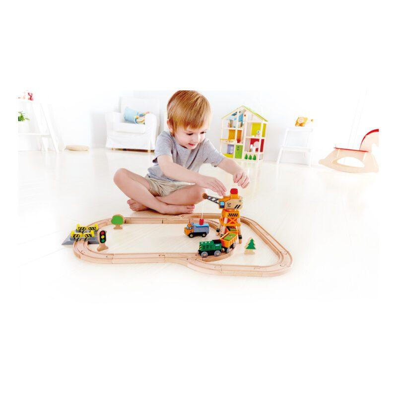 Kraan En Lading Treinset Railway Hape Speelgoed Ontdek maak Ikea Trein Hape-E3722