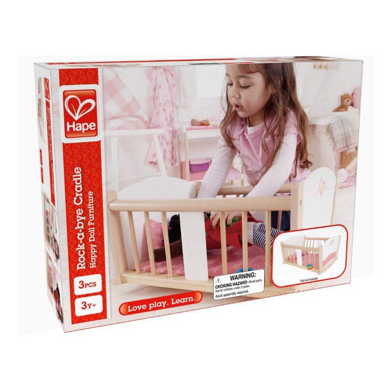 Poppen Wiegje Rock-A-Bye Hape Speelgoed Doos Verpakking Hape-E3601