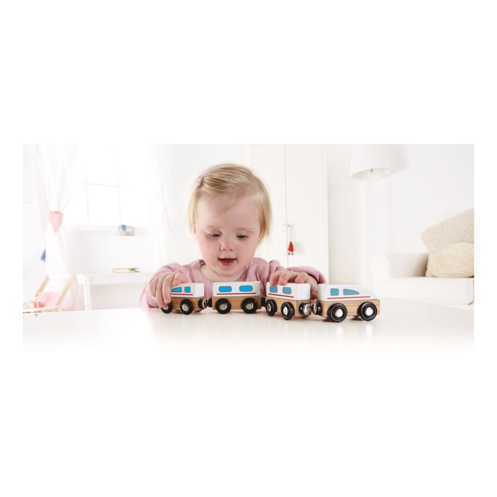 Snelle Magnetische Trein Hape Speelgoed 3 Treintjes Hape-E0914