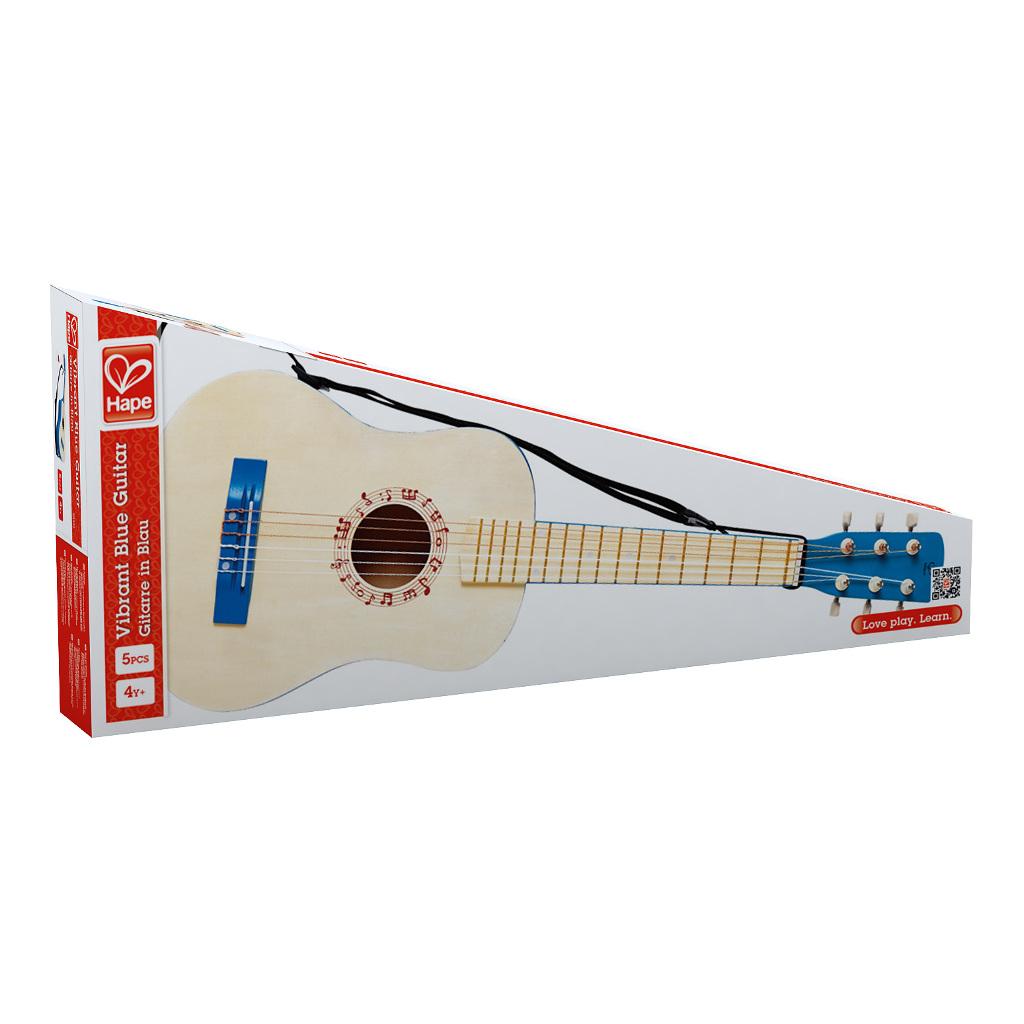 Vibrant Blue Guitar Hape Speelgoed Doos Verpakking Hape-E0326