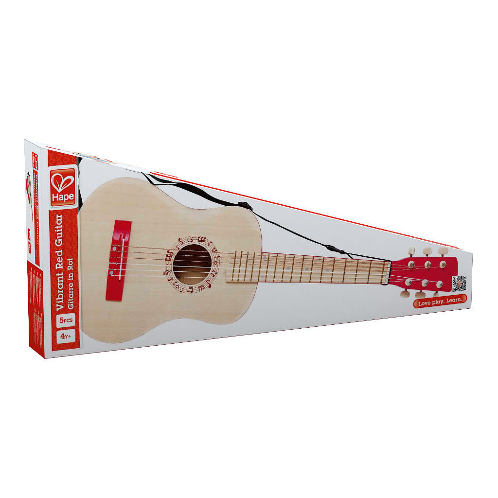 Vibrant Red Guitar Hape Speelgoed Doos Verpakking Hape-E0325