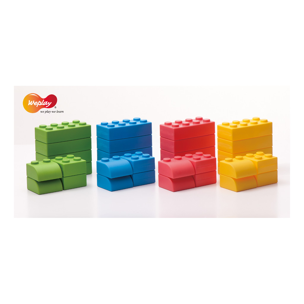 Q-Blokken 64 Stuks Met Opbergtas Stapelen Lego Weplay Wepl-Kc0004-065