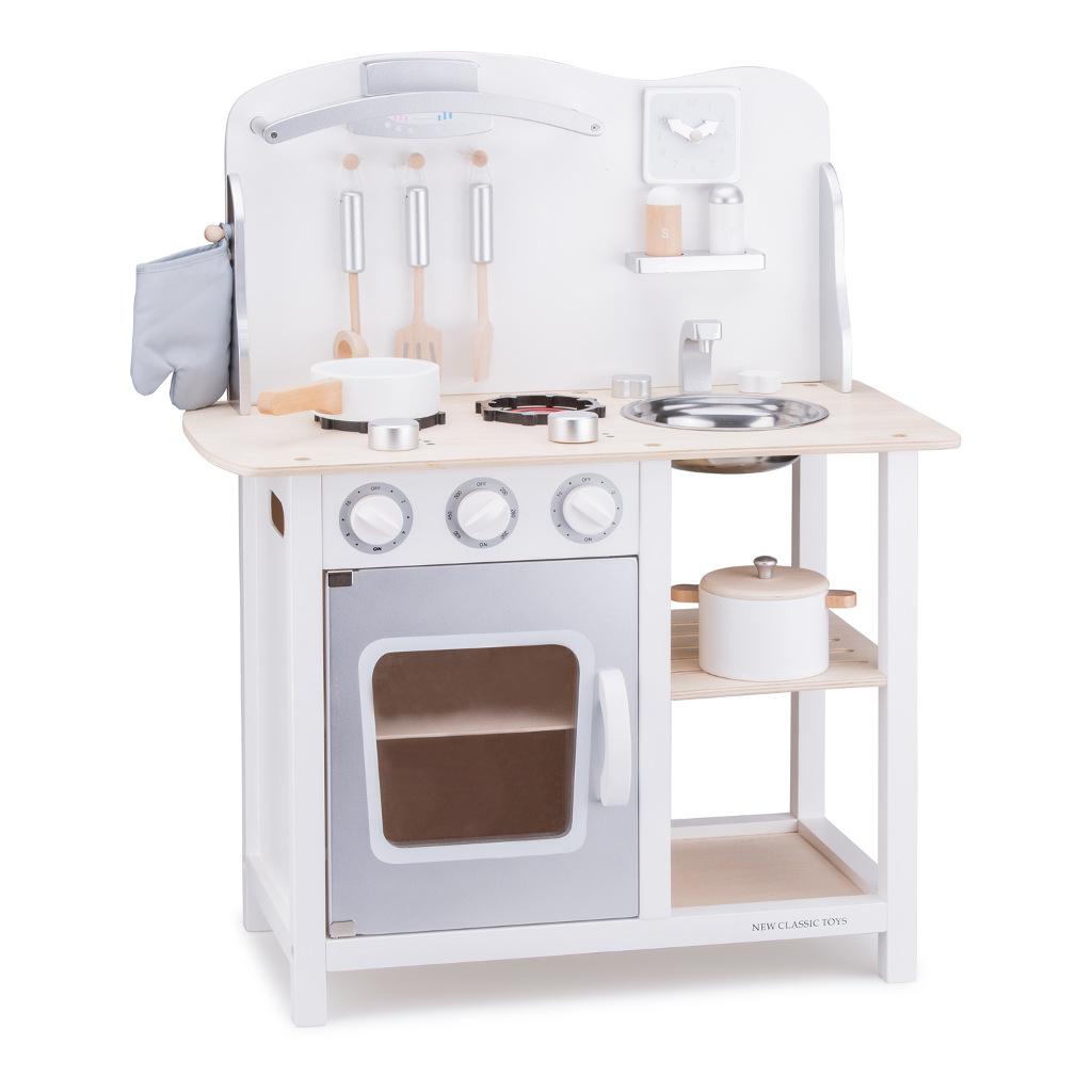 Bon Appetit Wit Zilver New Classic Toys Kinderkeuken Compleet Newc-11053