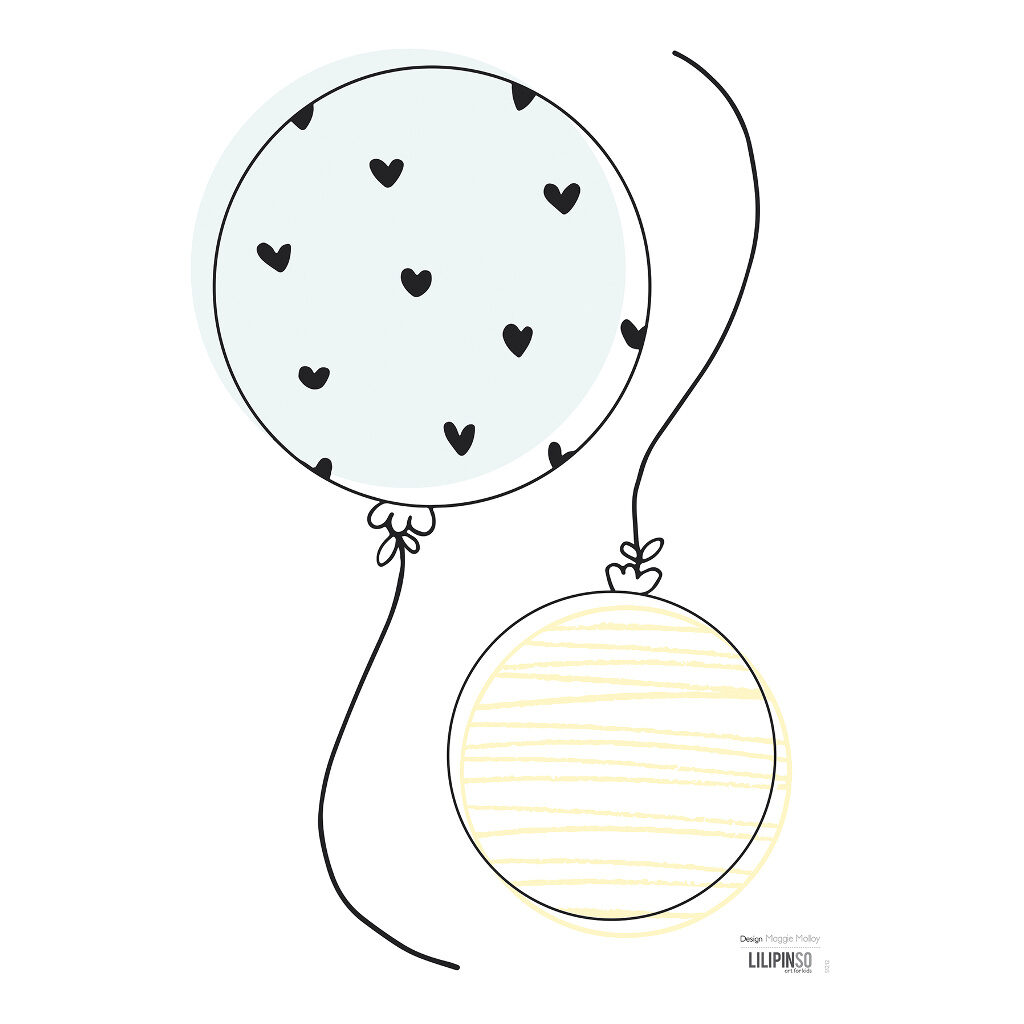 2 Balloons Muursticker A3 | Retro Bubble | Lilipinso