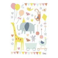 Animals Party Girl Muursticker A3 Lilipinsolili-s1074