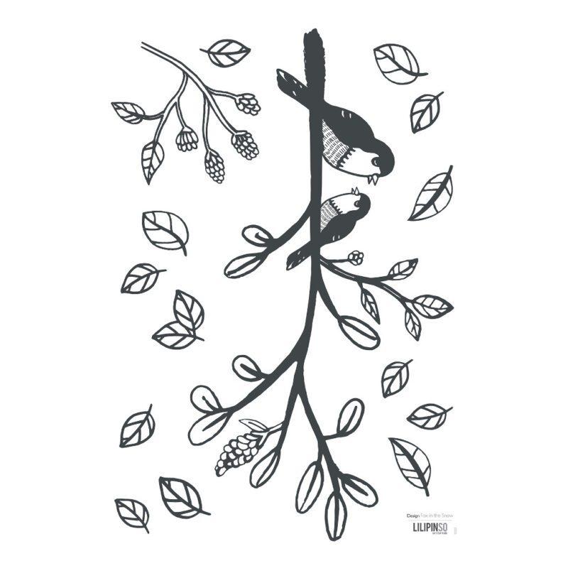 Bird On A Branch Muursticker A3   Enchanted   Lilipinso