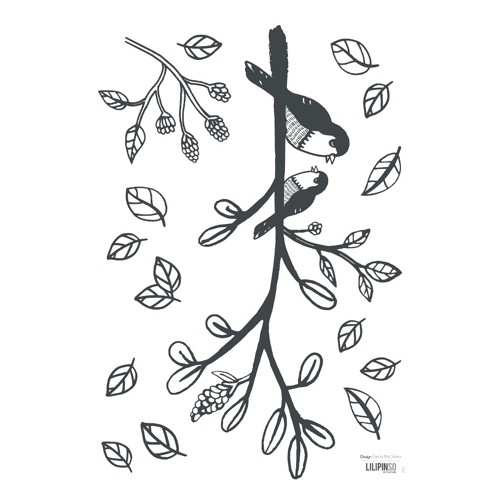 Bird On A Branch Muursticker A3 | Enchanted | Lilipinso