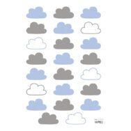 Blue & Grey Clouds Muursticker A3 Happy Clouds Lilipinso Wolkjes Blauw Grijs Lili-S1102