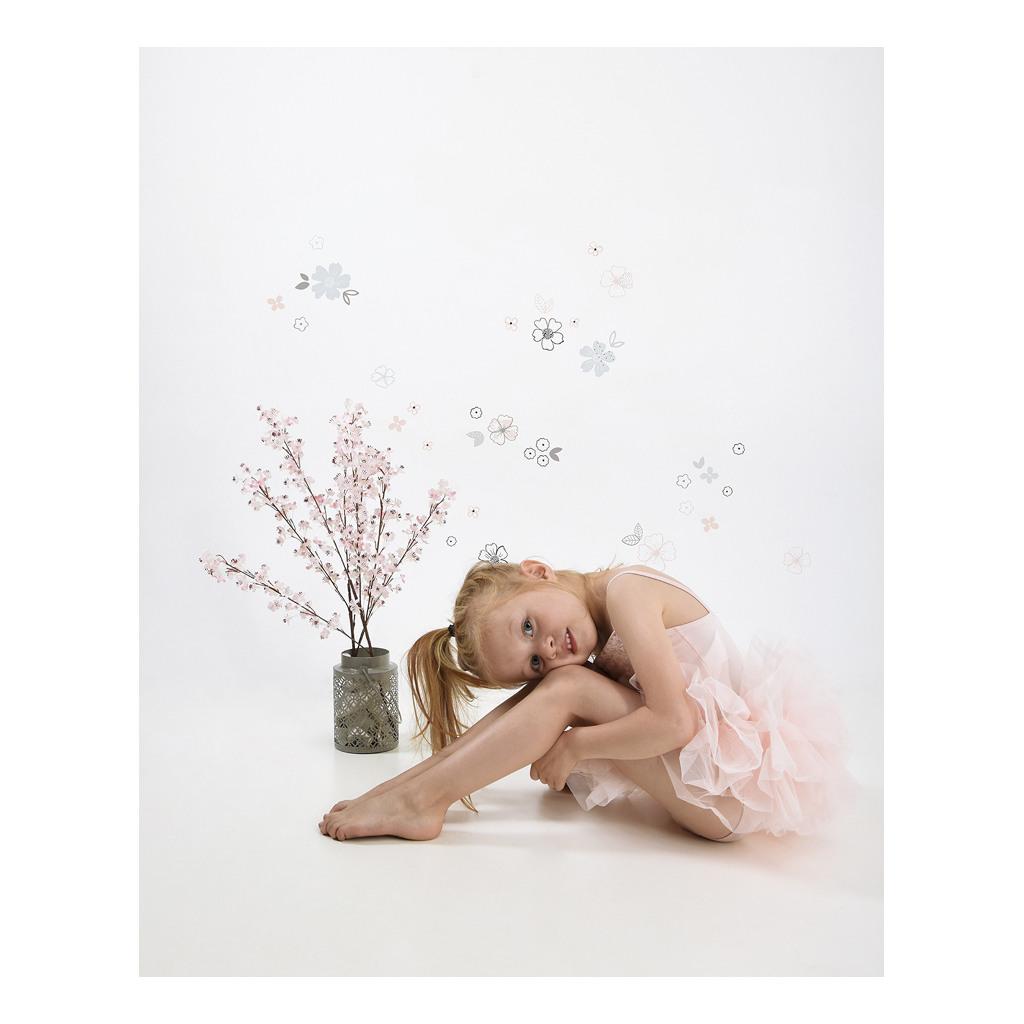 Blue & Pink Flowers Sticker 18X24Cm Ballerina Lilipinso Bloemen Pastel Lili-S1131