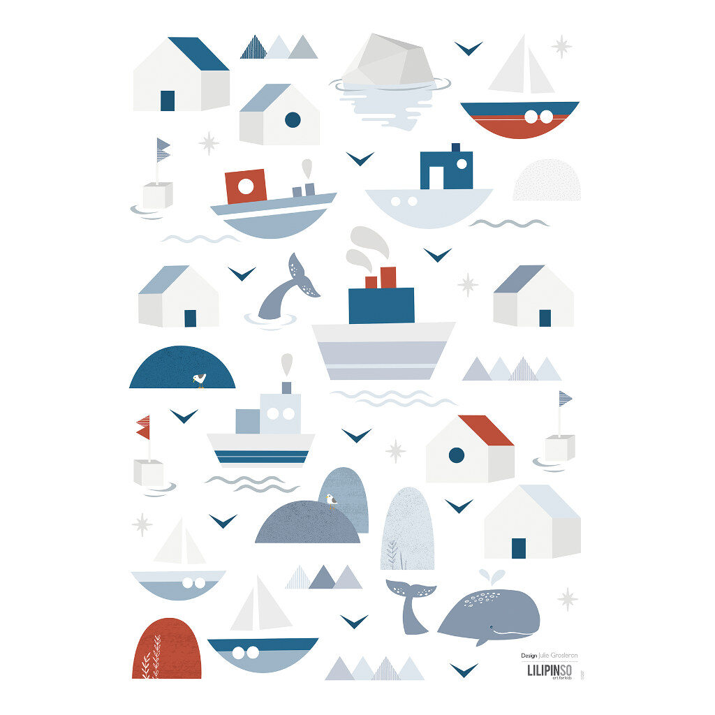 Boats & Houses Muursticker A3 | Wild Islands | Lilipinso